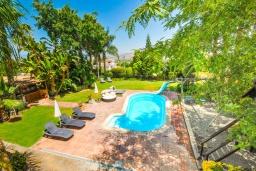 Бассейн. Испания, Малага : Фантастическая вилла с бассейном и зеленым двориком с барбекю и детской площадкой, 5 спален, 3 ванные комнаты, парковка, Wi-Fi