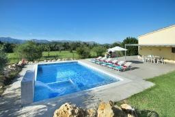 Бассейн. Испания, Польенса : Традиционная вилла с бассейном, встроенным джакузи, садом с барбекю и зеленым газоном, 3 спальни, 2 ванные комнаты, парковка, Wi-Fi