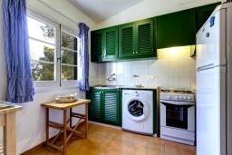Кухня. Испания, Менорка : Небольшие уютные современные апартаменты в нескольких метрах от песчаного пляжа, 2 спальни, ванная комната, общий басейн