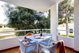 Терраса. Испания, Менорка : Небольшие уютные современные апартаменты в нескольких метрах от песчаного пляжа, 2 спальни, ванная комната, общий басейн