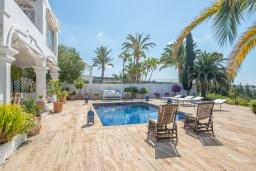 Бассейн. Испания, Марбелья : Прекрасная вилла на южной стороне расположена в очень тихой и уединенной обстановке, в окружении пышной растительности с открытым видом на Средиземное море, 4 спальни, 4 ванны,