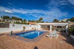 Бассейн. Испания, Мораира : Очаровательная вилла в испанском стиле,  в 1,5 км от пляжа и центра Морайры, 4 спальни, 3 ванные комнаты, частный бассейн, барбекю