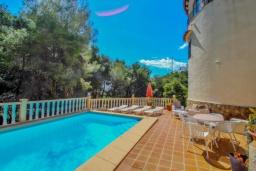 Бассейн. Испания, Бенисса : Замечательный дом для отдыха, с хорошей мебелью, расположен на вершине холма, 2 спальни, ванная комната, частный басейн
