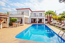 Бассейн. Испания, Мораира : Современная стильная вилла с просторными комнатами недалеко от курорта Морайра, 4 спальни, 3 ванные комнаты, кондиционеры, частный бассейн