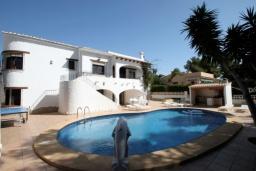 Бассейн. Испания, Мораира : Удобная просторная вилла расположенная в тихом жилом районе Моравит, 5 спален, 3 ванные комнаты, кондиционеры, частный бассейн