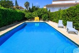 Бассейн. Испания, Кан-Пикафорт : Идеальная вилла для отдыха в Кан-Пикафорте на испанском острове Майорка, оборудована кондиционерами, 3 спальни, 2 ванные комнаты, собственный бассейн