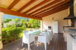 Обеденная зона. Испания, Польенса : Очаровательная вилла на испанском острове Майорка, с частным бассейном и видом на горы, 3 спальни, 2 ванные комнаты, Wi-Fi