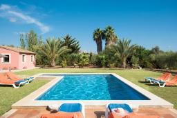 Бассейн. Испания, Польенса : Традиционная средиземноморская вилла с мезонином, частным садом, бассейном и открытой парковкой находится в Полленсе, в нескольких минутах езды от ее центра, 3 спальни, 2 ванные комнаты, Wi-Fi.