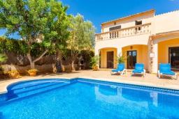 Бассейн. Испания, Са Рапита : Роскошная просторная вилла для отдыха вмещает до 8 человек с 4 спальнями, 3 ванными комнатами и частным бассейном.