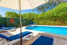 Зона отдыха у бассейна. Испания, Алькудия : Небольшая уютная вилла недалеко от пляжа,  с 3 спальнями, 2 ванными комнатами и собственным бассейном.