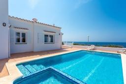 Бассейн. Испания, Менорка : Светлая уютная вилла на берегу моря, с 3 спальнями, 2 ванными комнатами, частным бассейном