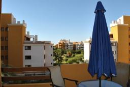 Балкон. Испания, Торревьеха : Комфортные апартаменты с видом на сад, 2 спальни, гостиная, 2 ванные комнаты, Wi-Fi, кондиционер, паркинг, балкон, спутниковое телевидение, общий бассейн