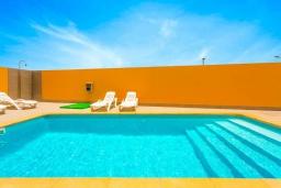 Бассейн. Испания, Фуэртевентура : Современная вилла с красивым комфортабельным интерьером, с 3 спальнями, 3 ванными комнатами и собственным бассейном с подогревом.