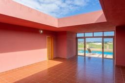 Патио. Испания, Фуэртевентура : Одноэтажная вилла с частным бассейном и обеденной зоной на открытом воздухе, с 3 спальнями, 3 ванными комнатами и видом на море.