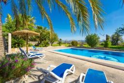 Зона отдыха у бассейна. Испания, Алькудия : Красивая вилла с роскошным частным бассейном, с 3 спальнями и 3 ванными комнатами.