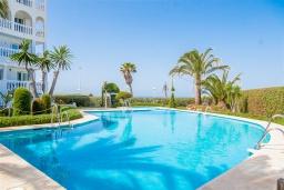 Бассейн. Испания, Нерха : Замечательная квартира с видом на море в 15 минутах ходьбы от города Нерха с общим и детским бассейном, балконом и садом, 1 спальня, 1 ванная комната, бесплатный Wi-Fi.