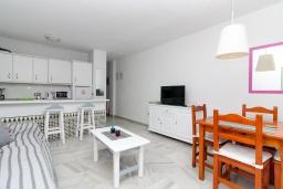 Гостиная / Столовая. Испания, Нерха : Очаровательная квартира недалеко от пляжей Эль-Плайясо и Плайя-де-Вильчеза, аквапарка AQUAVELIS VELEZ-MALAGA и поля для гольфа BAVARIA GOLF, 1 спальня, 1 ванная комната, мини-кухня, гостиная, Wi-Fi.