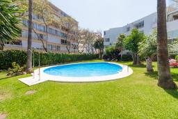 Вид на виллу/дом снаружи. Испания, Марбелья : Уютная двухкомнатная квартира с бассейном и парковкой в центре Марбельи, открытая парковка, 1 спальня, 1 ванная комната, мини-кухня.