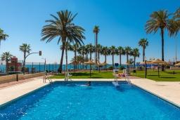 Бассейн. Испания, Бенальмадена : Изумительные апартаменты с садом и открытым бассейном в городе Бенальмадена, в 100 м от пляжа Санта-Ана, открытая парковка, 1 спальня, 1 ванная комната, Wi-Fi.