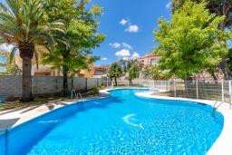 Бассейн. Испания, Торремолинос : Шикарные апартаменты с цветущим садом и открытым бассейном в Торремолиносе, в 1 км от пляжа Бахондильо и в 1,9 км от пляжа Плайямар, 2 спальни, 1 ванная, парковка, бесплатный Wi-Fi.