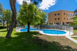 Зона отдыха у бассейна. Испания, Торремолинос : Шикарные апартаменты с цветущим садом и открытым бассейном в Торремолиносе, в 1 км от пляжа Бахондильо и в 1,9 км от пляжа Плайямар, 2 спальни, 1 ванная, парковка, бесплатный Wi-Fi.