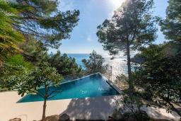 Бассейн. Испания, Бланес : Большая роскошная с прямым выходом к песчаному пляжу, имеет 8 спален, 4 ванные комнаты, частный бассейн, оборудована всей необходимой техникой
