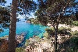 Вид на море. Испания, Бланес : Большая роскошная с прямым выходом к песчаному пляжу, имеет 8 спален, 4 ванные комнаты, частный бассейн, оборудована всей необходимой техникой