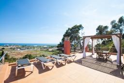 Терраса. Испания, Санта Сусана : Комфортабельная новая со вкусом обставленная вилла с 3 спальнями, 1 ванной комнатой и  частным бассейном