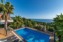 Бассейн. Испания, Бланес : Прекрасная большая вилла расположенная всего в 400 метрах от пляжа Кала Санта-Кристина, имеет 6 спален, 4 ванные комнаты и частный бассейн, оборудована кондиционерами, спутниковым телевидением и Wi-Fi