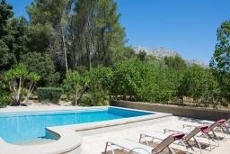 Зона отдыха у бассейна. Испания, Cант-Висенц : Уединенная вилла в окружении лесного массива, гостиная, 3 спальни, 2 ванных комнаты, Wi-Fi, бесплатный пятиместный автомобиль