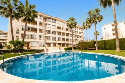 Бассейн. Испания, Альфас-дель-Пи : Уютный комфортабельные апартаменты, расположенные в 450 метрах от пляжа, имеют 3 спальни и 2 ванные комнаты, с балкона открывается вид на на горы и на Альбир