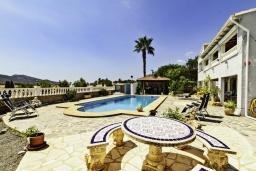 Зона отдыха у бассейна. Испания, Альфас-дель-Пи : Просторная, свежая и прекрасная квартира в частном двухквартирном доме, расположена в Альфас-дель-Пи, с 3 спальнями, ванной комнатой и частным бассейном