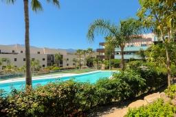 Зелёный сад. Испания, Бенаавис : Роскошная квартиры на первом этаже в Лос Фламинго с бассейном, детской площадкой и теннисным кортом в городе Эстепона, в 1,9 км от пляжа Эль-Саладильо, 2 спальни, 2 ванные комнаты, Wi-Fi.