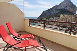 Балкон. Испания, Кальпе : Хорошая квартира для отдыха с 1 спальней и 1 ванной комнатой, прямо на пляже Леванте, с роскошным видом видом на море и пляж